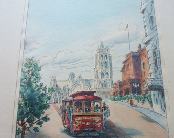 Ivy Faith Constance Watercolor Lithographs of San Francisco Streets