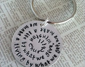 Winston Churchill Quote, Silver hand stamped Keychain for Teacher, Volunteer, Mentor, Professor