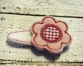 Clearance Pink Felt Flower Hair Clip With Felt Clip Cover / Embroidered Felt / Ready To Ship