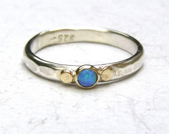 Opal ring,Blue opal Gemestone Engagement Ring - 14k gold ring silver ring Opal  ring, Sale for holidays, New year gift- MADE TO ORDER