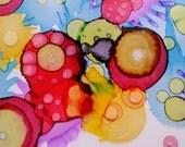 Bubble original alcohol ink painting 28cm x 22cm artwork on aceo
