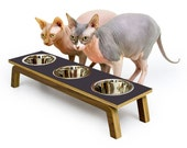 "Mid Century Modern Pet Feeder | Elevated SMALL Cat & Dog Bowl | MCM Walnut Pet Dish | 16 oz Stainless Bowls | ""Triple Diner"""
