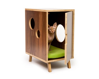 "Mid Century Modern Cat Litter Box Furniture | SMALL Cat Litter Box Cover | Pet House | MCM Walnut Side Table | ""Compact I Cabinet"""