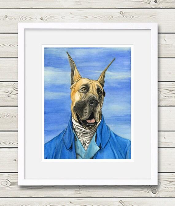 Great Dane Art - Great Dane Houdon - Dog Art, Great Dane portrait, dog painting