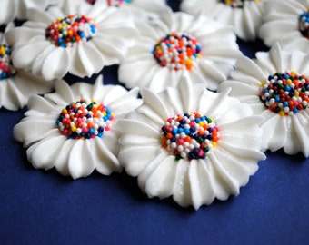 Royal Icing Modern Daisies in White with Rainbow Nonpareil Centers (12)