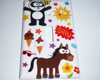 Wide eyed summer fun single light switch cover