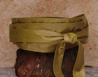 Moss green leather wrap belt, green obi belt  - Sash-a