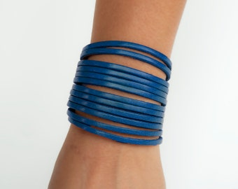 Womens Blue Leather Cuff, Royal Blue Cuff Bracelet   - the Strands