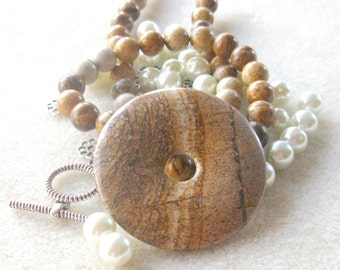Picture Jasper Donut Pendant, Glass Pearls, Jewelry Making Beads, Gemstone Beads, DIY Jewelry Kit, Bead Kits, Craft Supplies, Jasper Beads