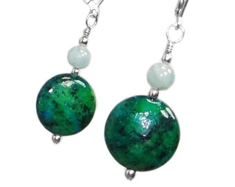 Aquamarine and Malachite-Chrysocolla Sterling Silver Earrings - March Birthstone