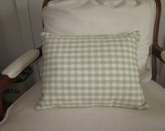 Apple green and white check pillow