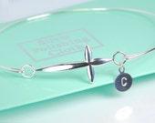 Sideways cross bangle bracelet, sterling silver bracelet, personalized w/ or w/o hand stamped initial, dainty everyday jewelry