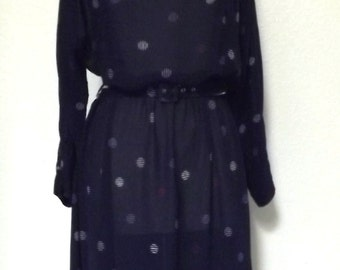 Vintage Belted Navy Blue Polka Dot Dress - Sheer with Red & White Polka Dots - Medium 8