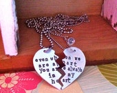 Sale-Broken Heart Hand Stamped His and Hers