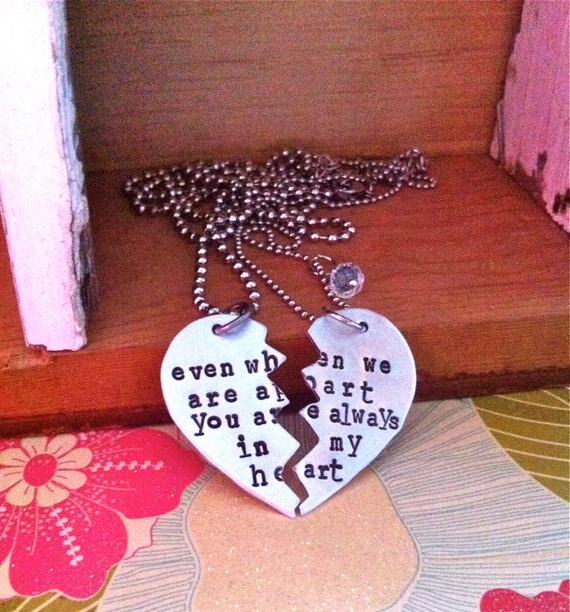 On Sale-Broken Heart Hand Stamped His and Hers