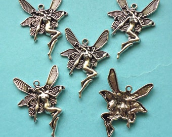 SALE, large FAIRY Charms x 5, antique silver tone, charm, UK seller, reduced, was 1.60, now only 1 pound while stocks last