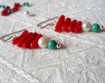 Coral & turquoise earrings, Red earrings, Modern earrings, Dangle earrings
