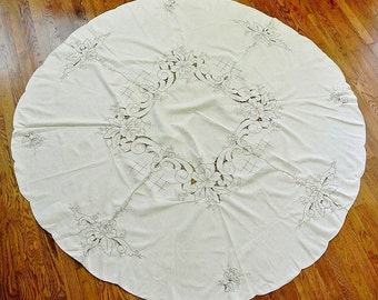 "68"" Round Embroidered & Openwork Tablecloth"