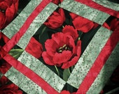 """ON SALE! Quilted Table Runner """"Tulip Garden""""  in Black, Red and May Green"""