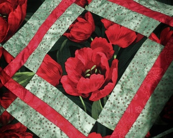 "ON SALE! Quilted Table Runner ""Tulip Garden""  in Black, Red and May Green"