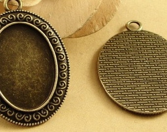 30 Pendant trays- 18x25mm Antique Bronzed Oval Bezel Cup Cabochon Mountings with ring- 147g- BA3501