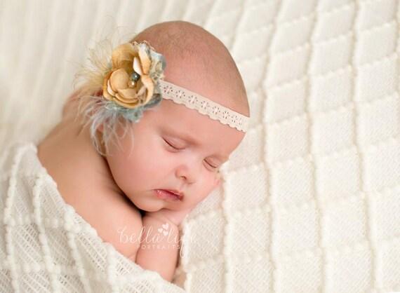 Blue and Bronze Flower Shabby Chic Headband