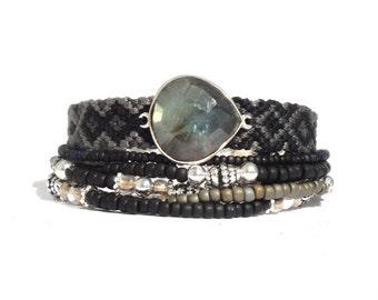 Black multistrand gemstone bracelet - semi-precious labradorite bracelet - black friendship bracelet - stacking bracelet