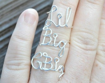 SET Grand Big, Big and Lil Word Ring, Rings 1 G Big, 1 Big and 1 Lil Sorority Set Wire Word Rings Non Tarnish Silver Plated Wire Adjustable