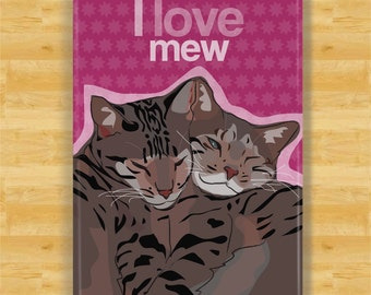 Cat Gifts Refrigerator Magnets with Cats, Cute Sayings, I Love You - I Love Mew - Valentines Day Gifts