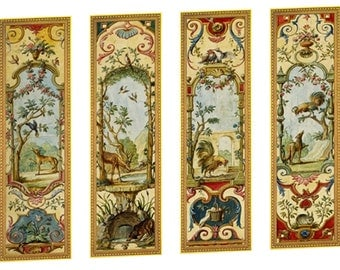 Victorian Wall Panels Wallpaper 1  12th or 1  24th scale #01 Dolls House Miniature