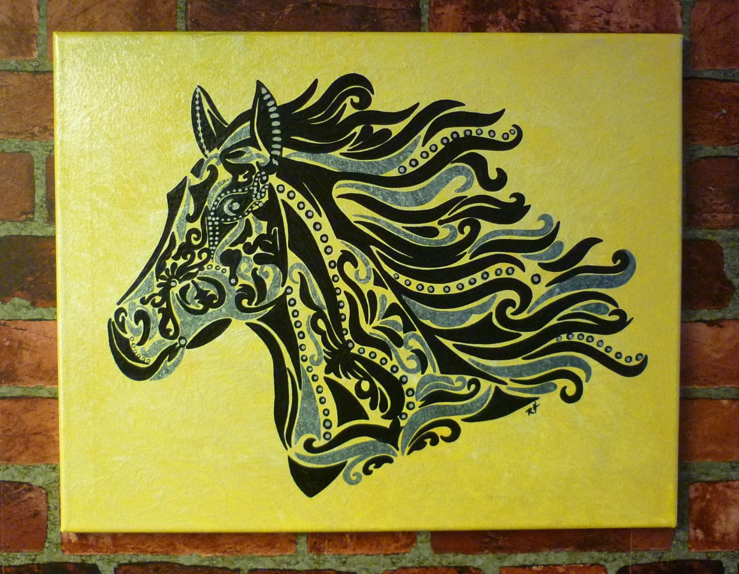Scroll Design Wall Decor : Whimsical horse scroll design wall art home by artbyrhrussell