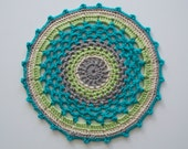 Bright Blue and Green Crochet Doily