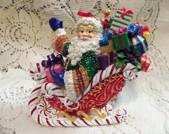 Vintage Radko Christmas Santa Sled Ornament Display