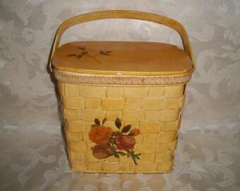 Vintage 60s Wooden Purse Handbag Pouch Case
