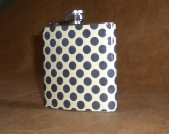 On SALE Navy Blue and Cream Polka Dots Print Stainless Steel 6 ounce Gift Flask KR2D 7248