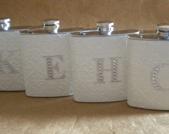 Bridesmaids Personalized Gifts 4 White Embossed 6 ounce Stainless Steel Flasks ALL with Rhinestone Initial KR2D 7543
