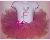 First 1st Easter Outfit , Bunny Tutu Set, Easter Tutu Outfit Dress, Personalized Easter Bunny Initial Top , Pink Glitter Easter Tutu