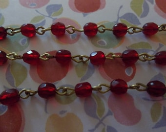 4mm Garnet Red Bead Chain - Brass Rosary Chain - Czech Glass Beads - Qty 18 inch strand