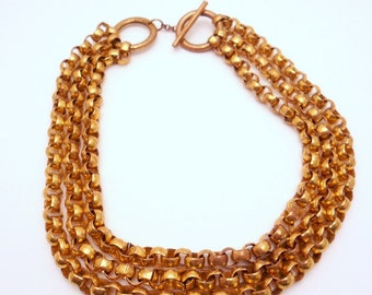 Vintage Brass Chain Necklace Three Strand 1970s