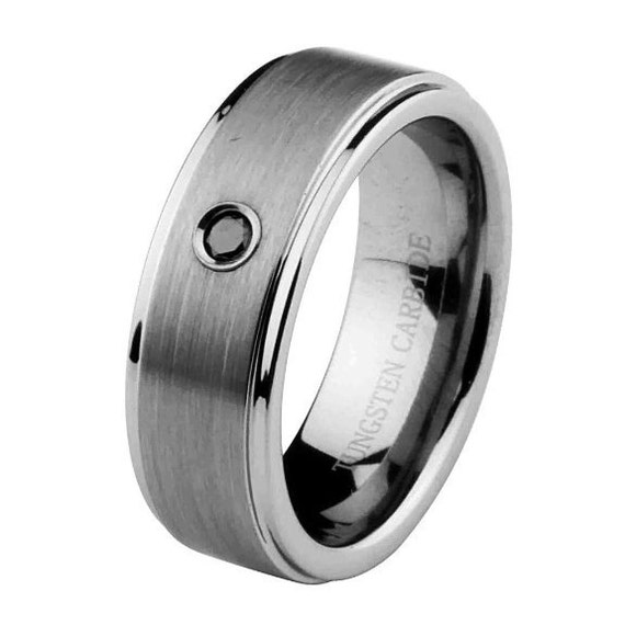 9mm tungsten carbide comfort fit wedding band black by