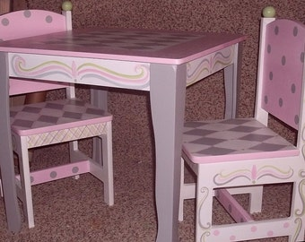 Kids Table Chairs Desks  Nursery Furniture Custom Pink and Gray Table  and 2 Chair set Tea Party Table