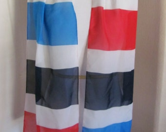"""Lovely Red White Blue Stripe Poly Scarf - 10"""" x 60"""" Long"""