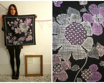 1970's Vintage Parisian Abstract Floral Printed Silky Scarf