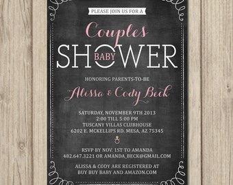 COUPLES BABY SHOWER Invitation - Coed Shower - Chalkboard Invitation