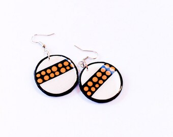 Modern, Small and Bold Circular and Stripped Mustard Polka dotted Earrings