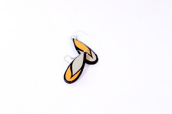 Small Teardrop Shaped Modern Scarf Earrings in Mustard, Grey and Black