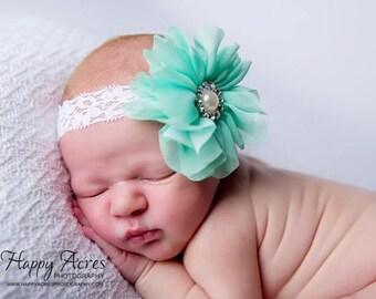 Mint headband, baby headband, newborn headband, vintage headband, newborn photography prop, girl headband