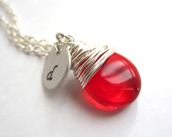 July Birthstone Necklace with Initial Red Necklace Wire Wrapped Pendant Wire Wrapped Jewelry Handmade