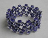 Cobalt and Clear Glass Beaded Napkin Rings - set of four
