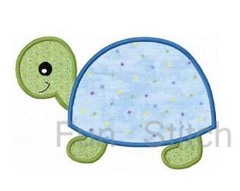 Turtle applique machine emboridery design instant download